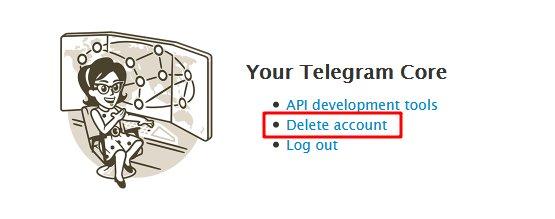 گزینه حذف حساب کاربری تلگرام