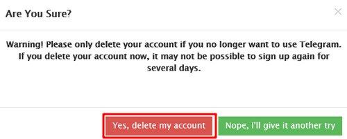 اطمینان از حذف حساب کاربری تلگرام